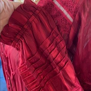 NWT fig & flower red blouse w/Juliet sleeves